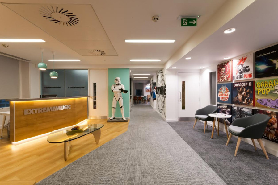 Reception Office signs London for Extreme Music